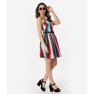 1950s Style Multicolor Stripe Darcy Flare Dress